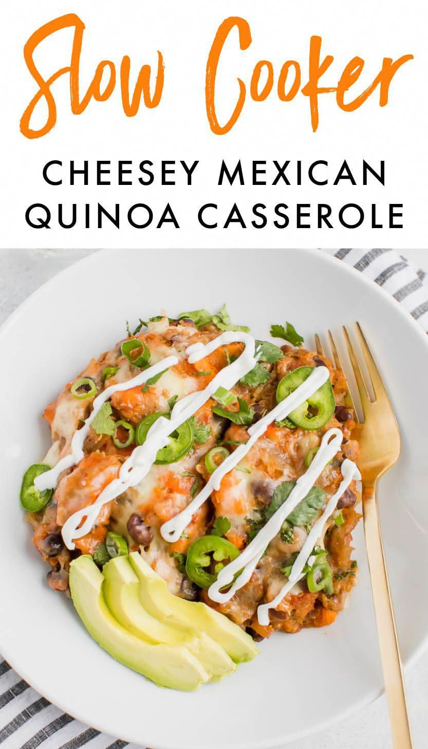 A vegetarian Mexican quinoa casserole made entirely in the slow cooker. Packed with sweet potatoes,