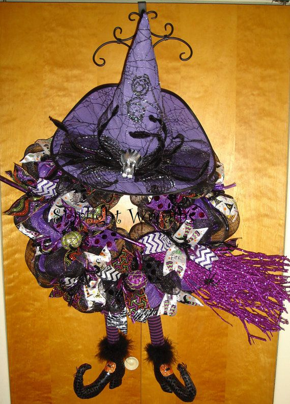 XL Witch Mesh Wreath with Broom, Witch Decor, Witch Wreath - halloween decorations witch