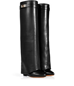 Black Leather Wedge Boots by GIVENCHY