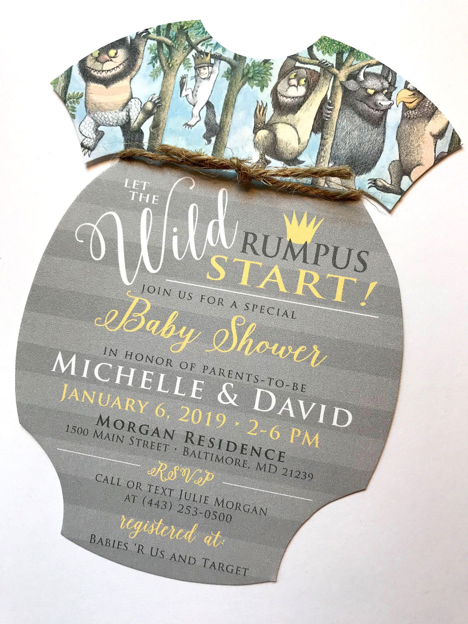 Where The Wild Things Are Baby Shower Invitation, Onesie Baby Shower ...