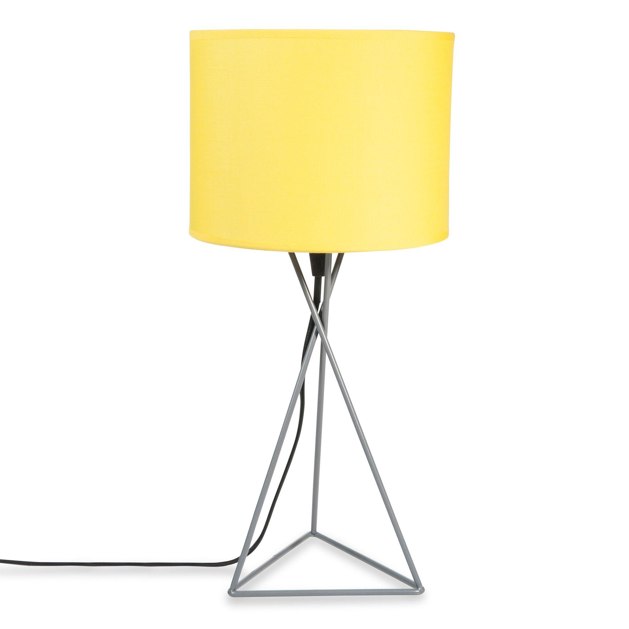 Lampe en métal grise et abat jour jaune H 43 cm