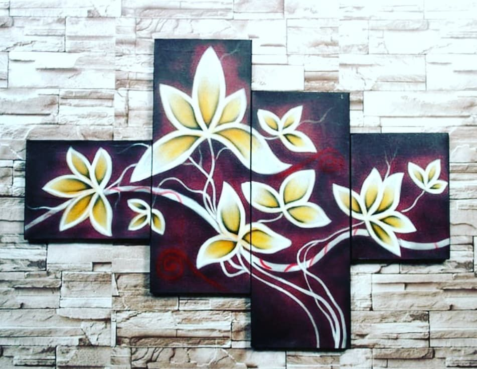 Lukisan Dekoratif Bunga Coklat ㅤㅤ LUKISAN 100 ASLI BUATAN