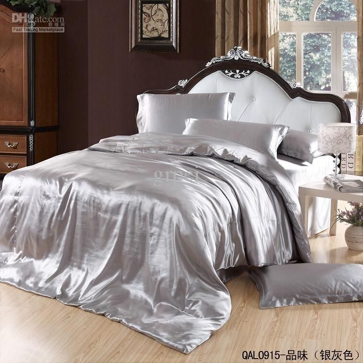 Grey Gray Silver Mulberry Silk Comforter Bedding Set King Size Queen Comforters Sets Quilt Duvet Cover Bed Line Bed Linens Luxury Luxury Bedding Silver Bedding