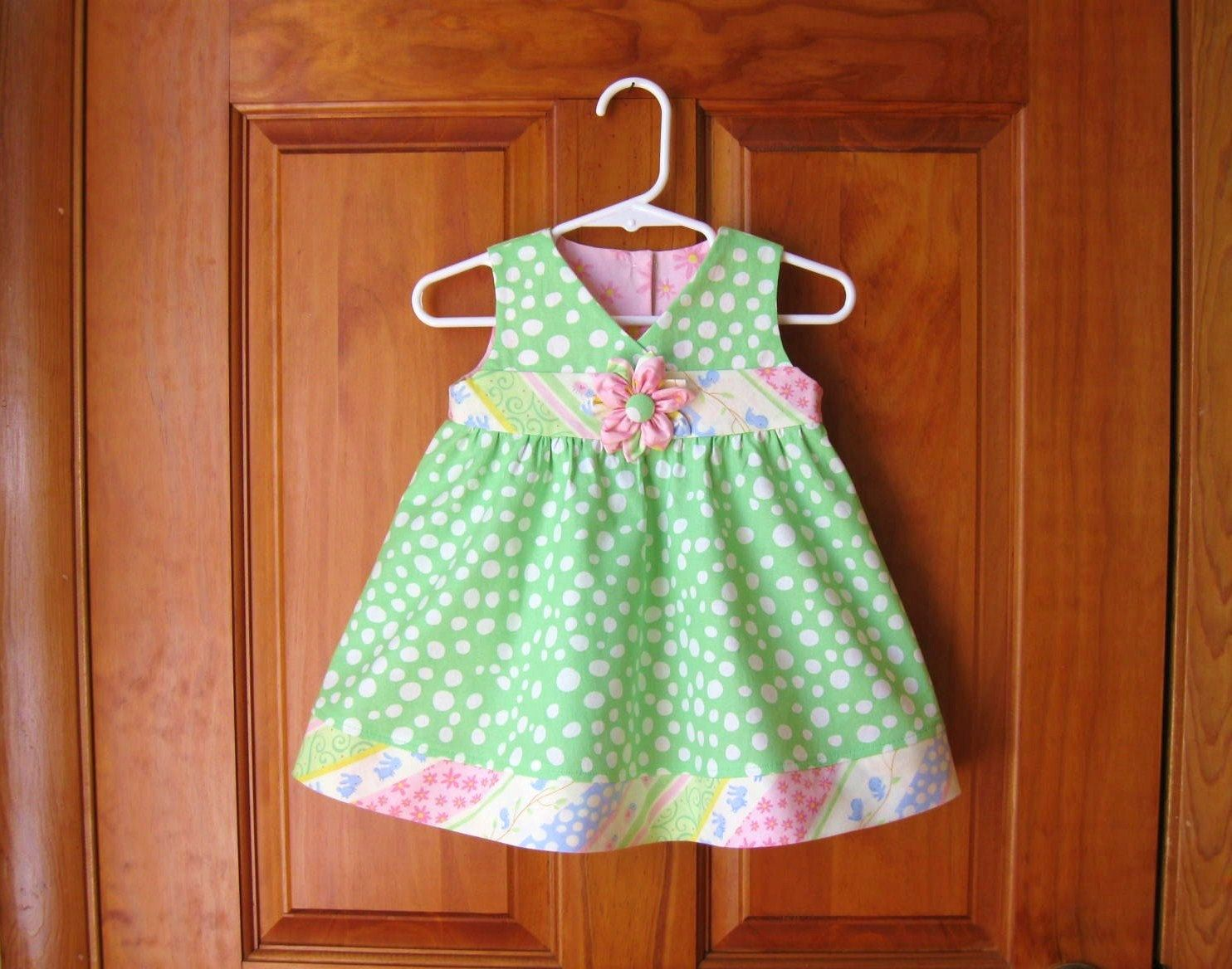 Green dress baby images  Baby girl dress and short set green u white dots with pink white
