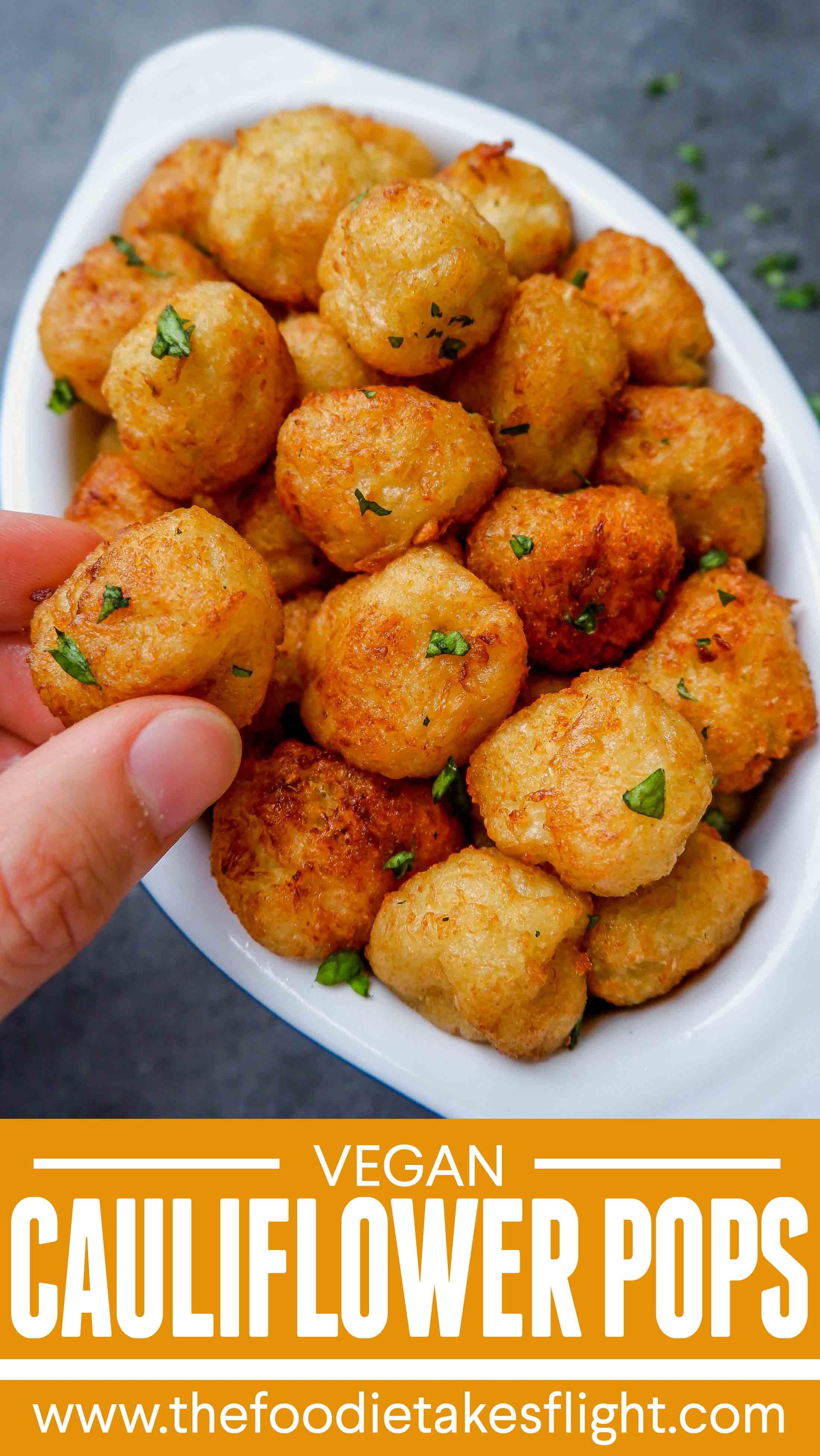 4 Ingredient Cauliflower Pops Vegan Recipe In 2020 Vegan Cauliflower Vegan Recipes Baked Cauliflower Bites