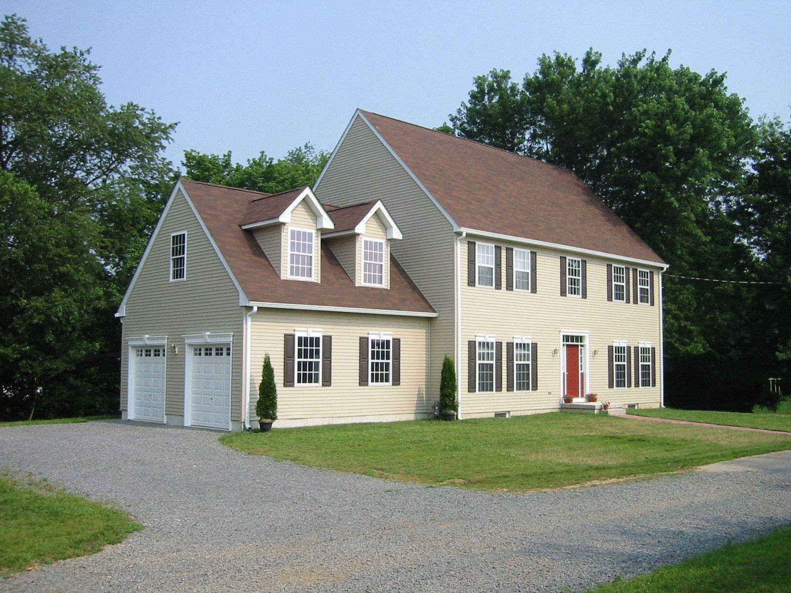 Classic colonial custom modular home with two car garage for Custom colonial homes