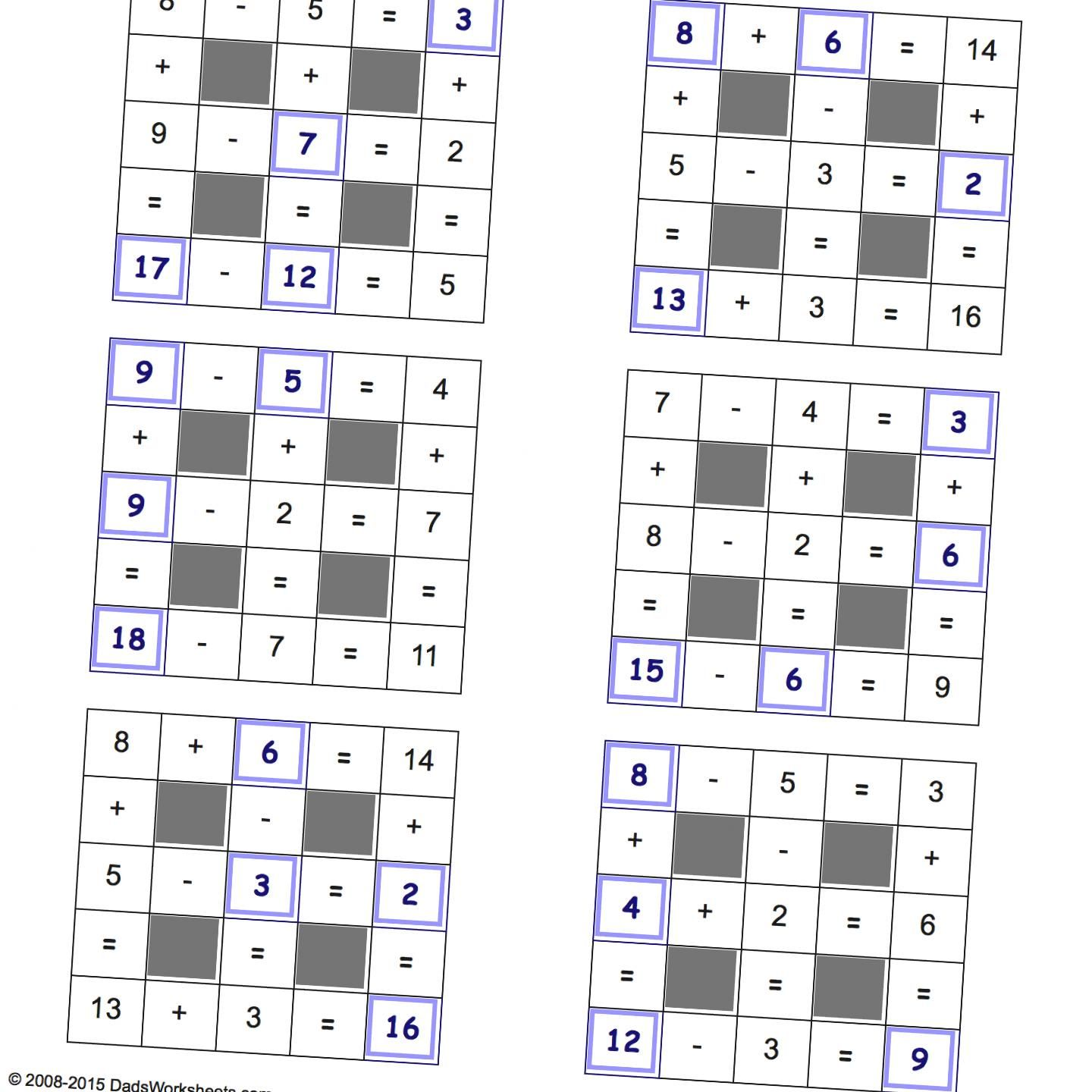 Math Operations Puzzles Addition And Subtraction Small Values Harder