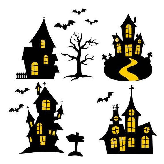 Haunted House Halloween Cuttable Svg Png Dxf Eps Designs Etsy Halloween Silhouettes Halloween Haunted Houses Halloween Crafts