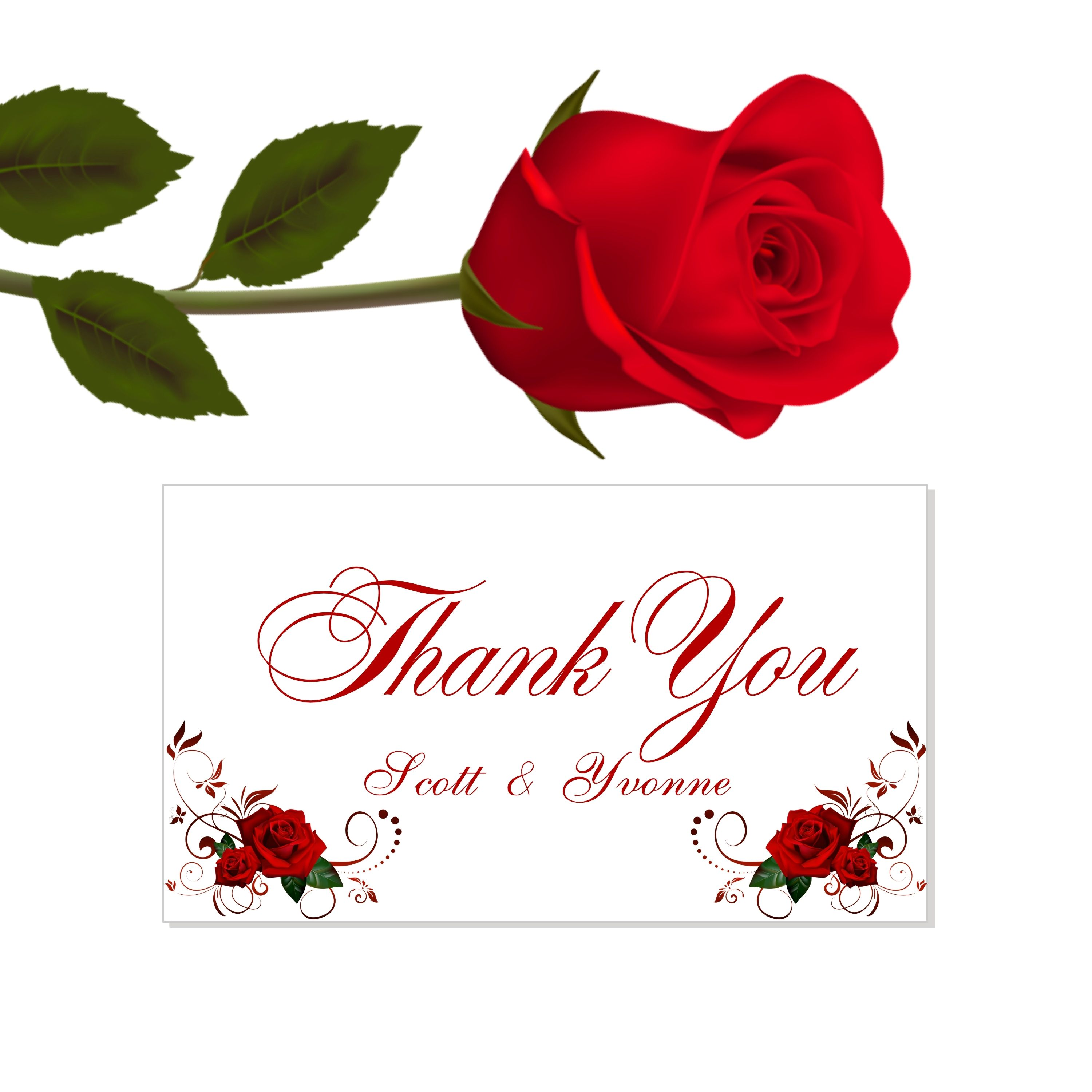 Unique Thank You Card Ideas: Red Rose Beauty And The Beast Thank You Cards