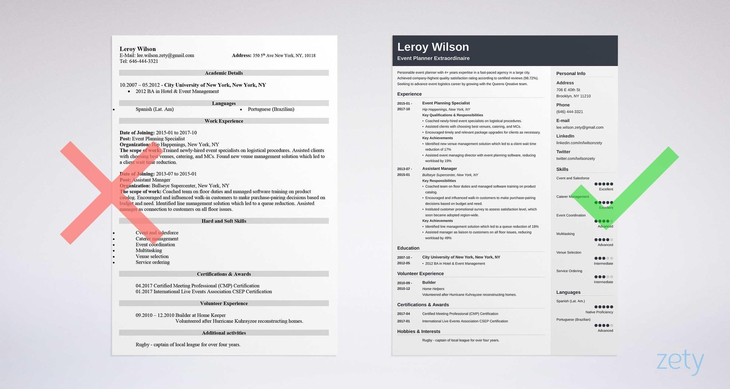 Event planner coordinator resume sample job