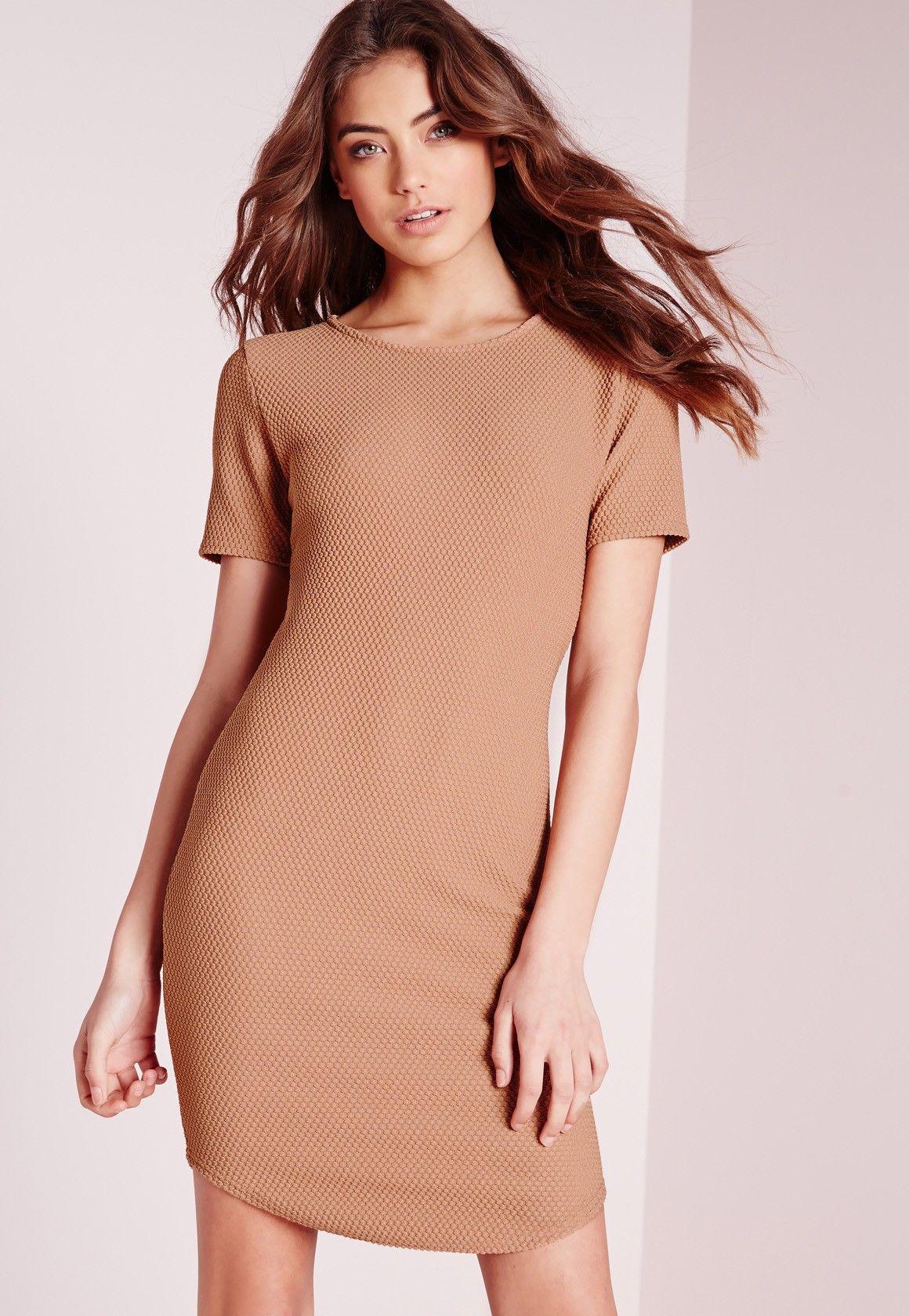 Missguided - Curve Hem Waffle Texture Bodycon Dress Tan
