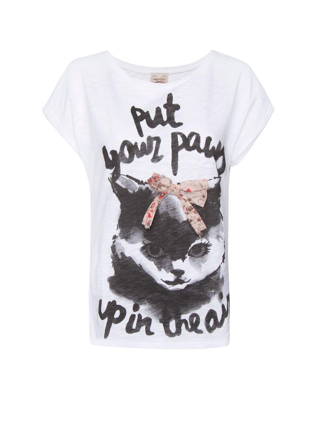 Printed cat t-shirt by MANGO