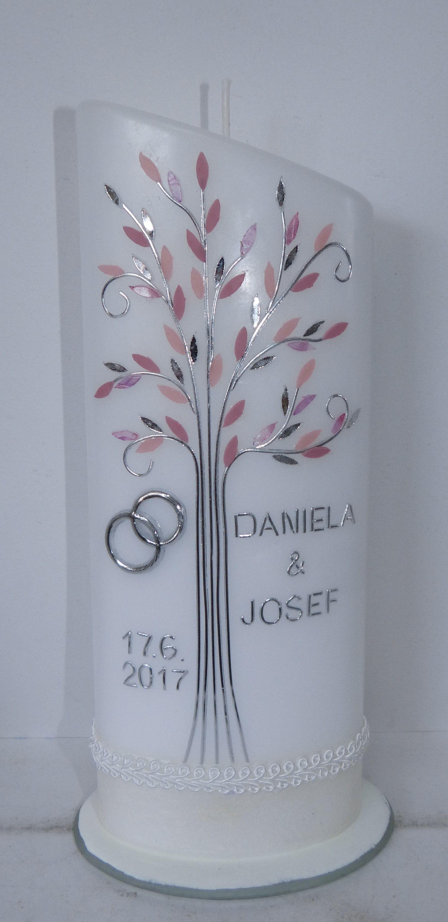 Hochzeitskerze in rose und silber mit Lebensbaum von mac-kunst.