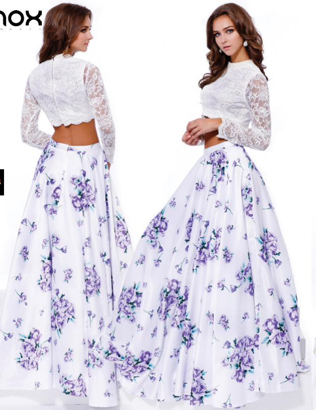 prom dress two piece 2 piece white lace long sleeve crop top floral satin printed skirt purple royal floral