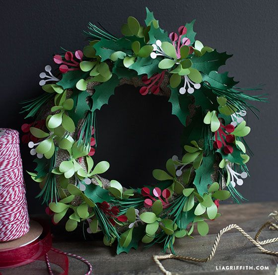 Metallic Paper Holly And Mistletoe Wreath