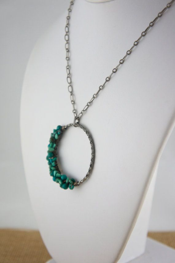 Turquoise Chip Wire Wrapped Antiqued Silver Circle Necklace #etsymnt #statementjewelry