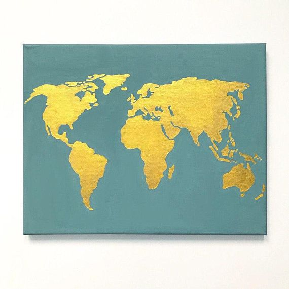 Gold world map canvas 11x14 in wall art decorative map hanging gold world map canvas 11x14 in wall art decorative map hanging sage gumiabroncs Images