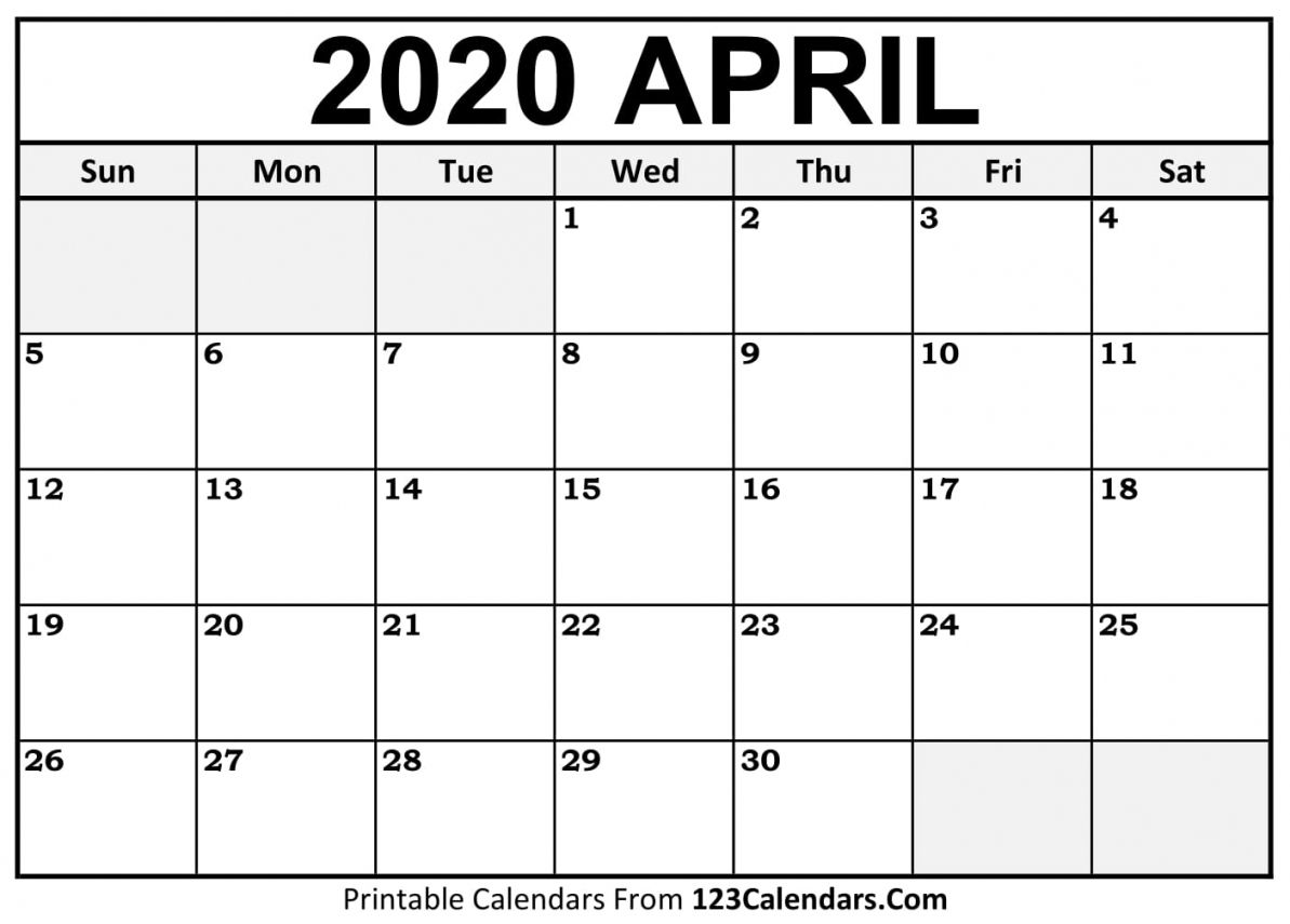 April 2020 Calendar Printable Templates In 2020 Calendar