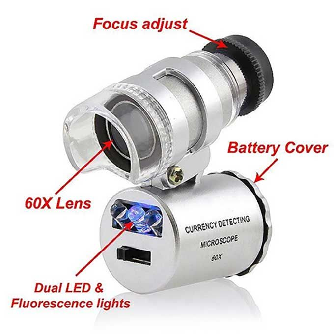 Dirt cheap microscope with UV light and LED