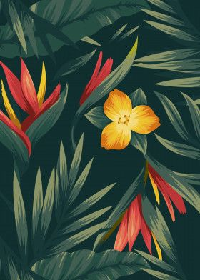 Tropical leaves and flower | Displate thumbnail