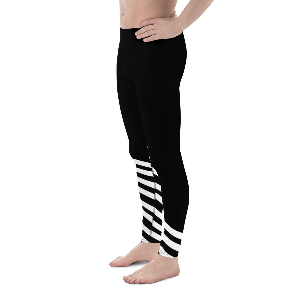 565fc3d0c3c7a Yoshi Black and White Diagonal Striped Men's Athletic Running Leggings –  Heidi Kimura Art LLC
