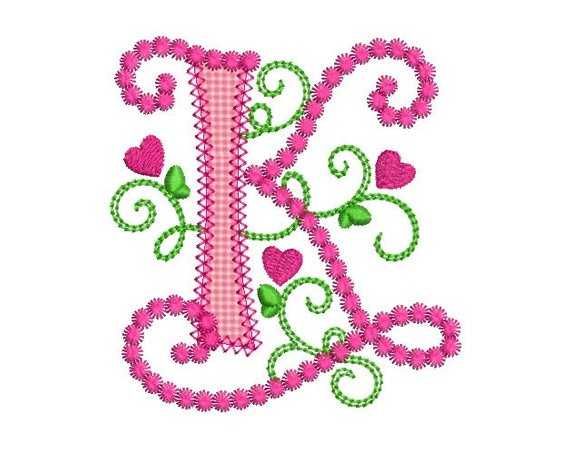 Cute Letter K Alphabet For Lil Princess Hearts Applique Embroidery