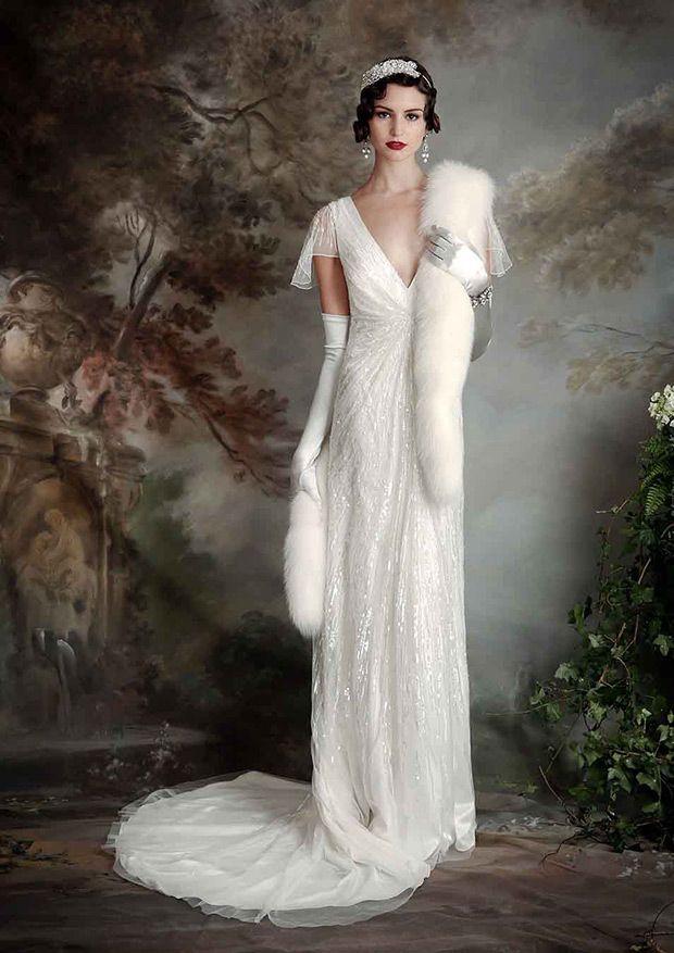 Eliza Jane Howell Wedding Dresses Roaring 1920s Style Onefabday Com Ireland Deco Wedding Dress Art Deco Wedding Dress Wedding Dresses