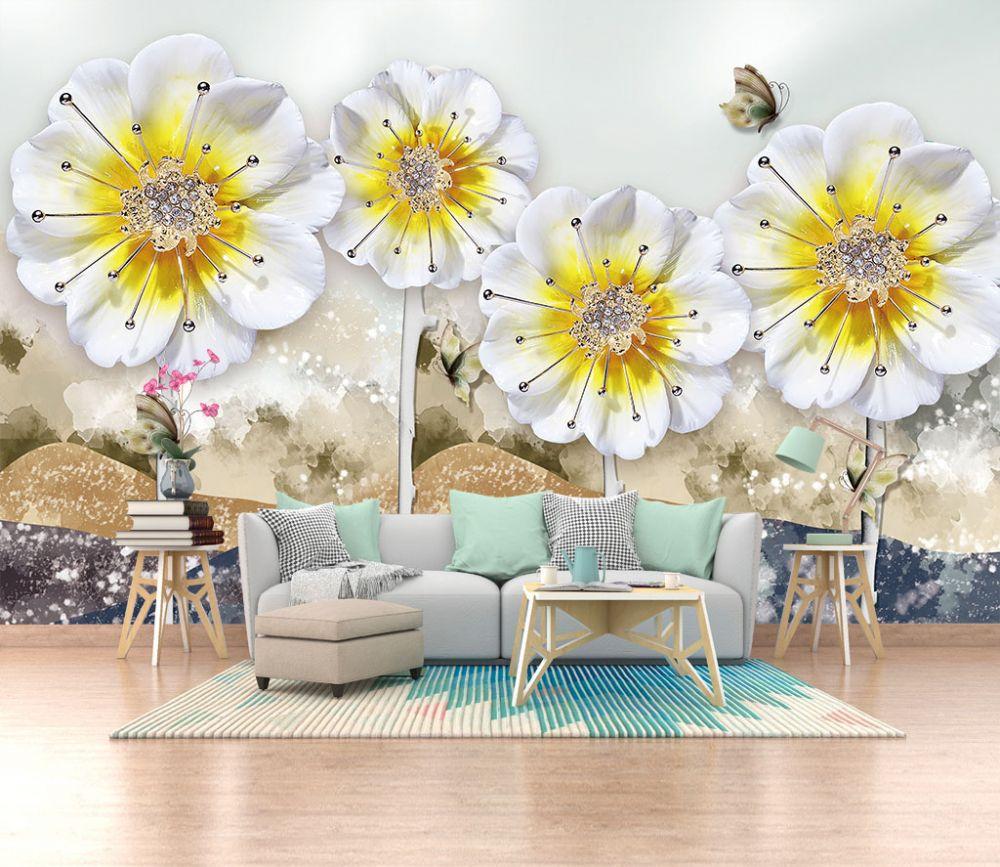 Fototapeta Zolty Kwiat I Sciana 34933 Uwalls Pl Floral Wallpaper Decor Mural