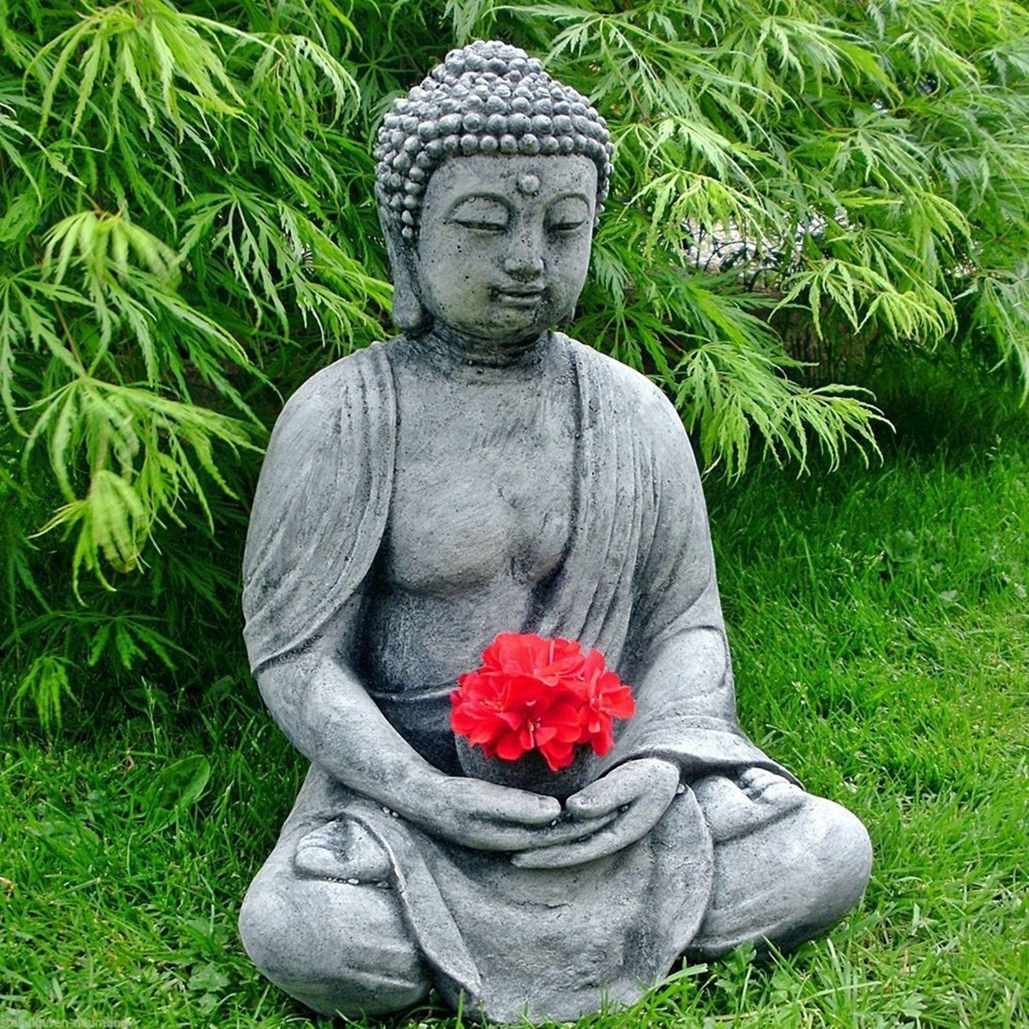 Stein Buddha Feng Shui Steinfigur Grau Anthrazit