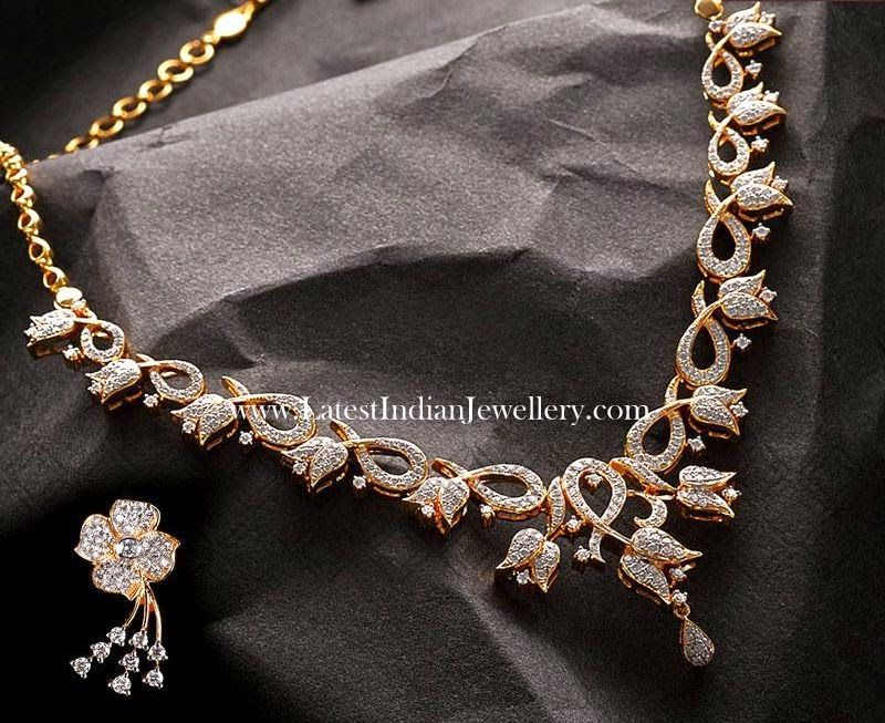 c2498c676a2ffd Lotus Floral Design Diamond Necklace Set | For the love of Jewels ...