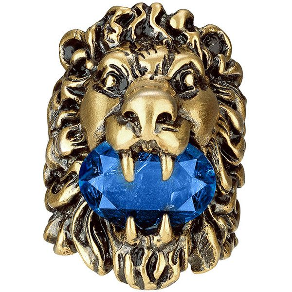 Diamond /& Sapphire Lion Head Ring Sterling Silver or Gold Plated Silver