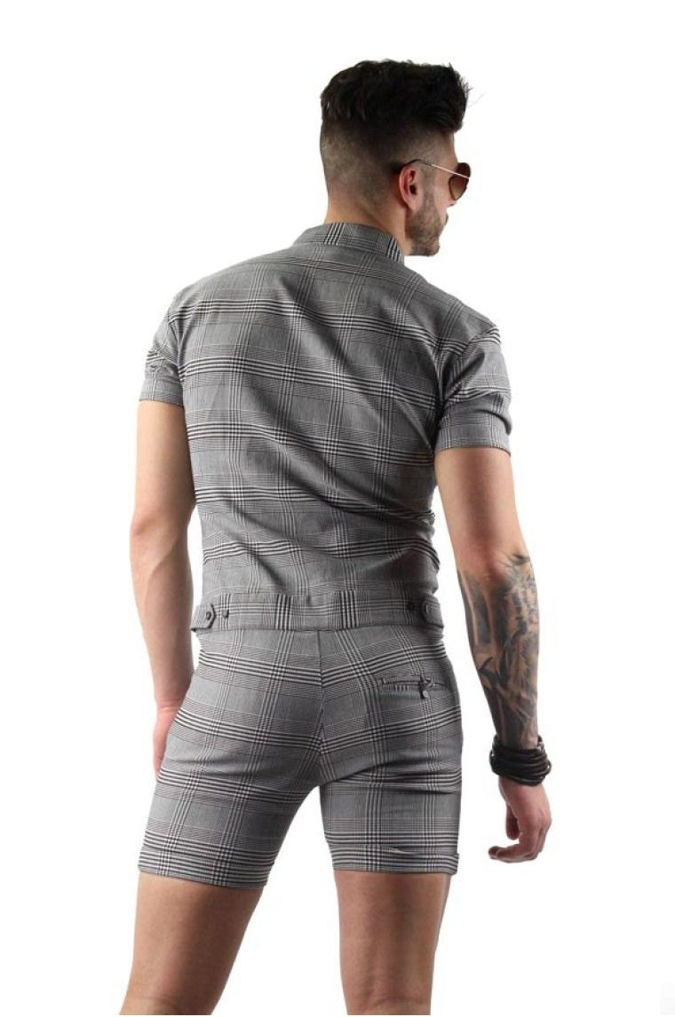 5f80461a5b12 Mens Plaid Romper in Grey in 2019