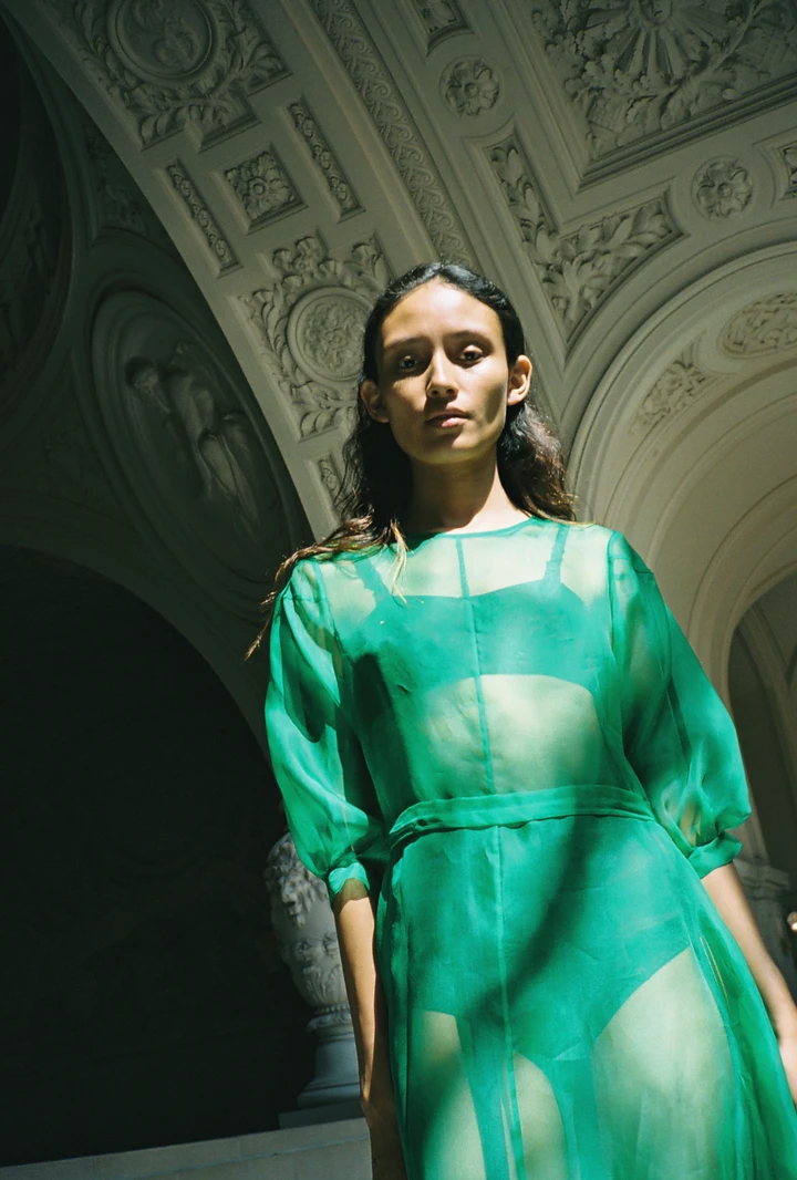 STENT DRESS | SILK ORGANZA | KELLY GREEN – Kamperett