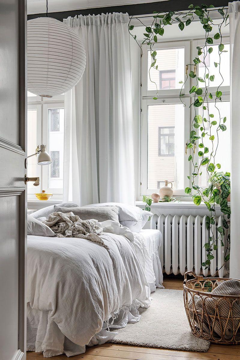 A Charming Swedish Home In White Wood And Ochre Bedroom Interior Scandinavian Design Bedroom Simple Bedroom