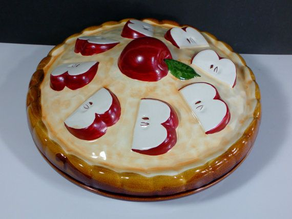 Apple pie Vintage pie keeper pie plate pie server with lid red apples : plate pies - pezcame.com