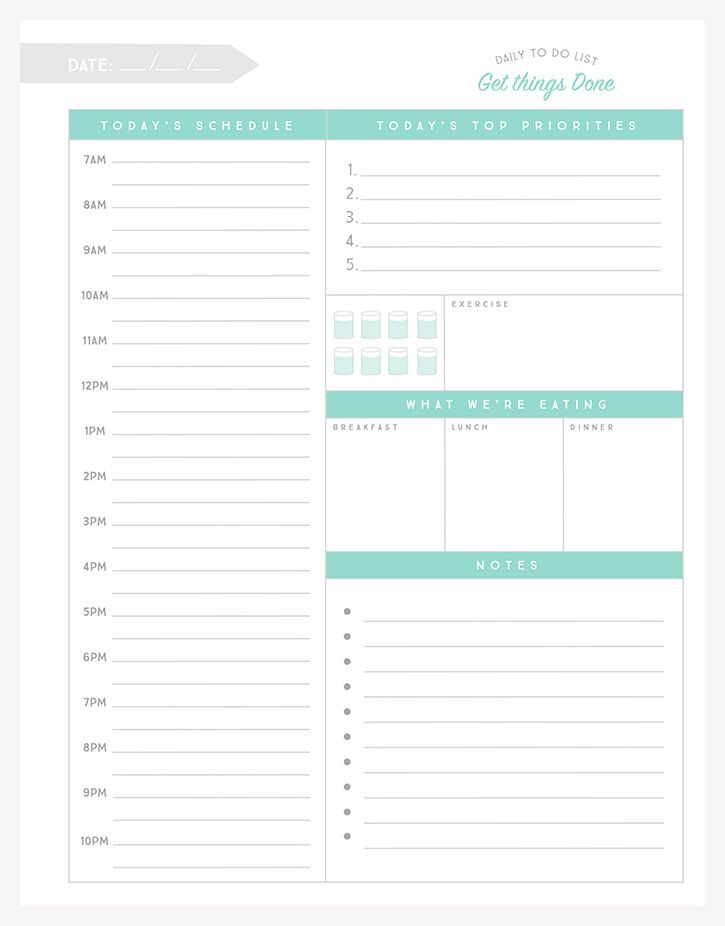 Free Daily To-Do List Printable | Meals
