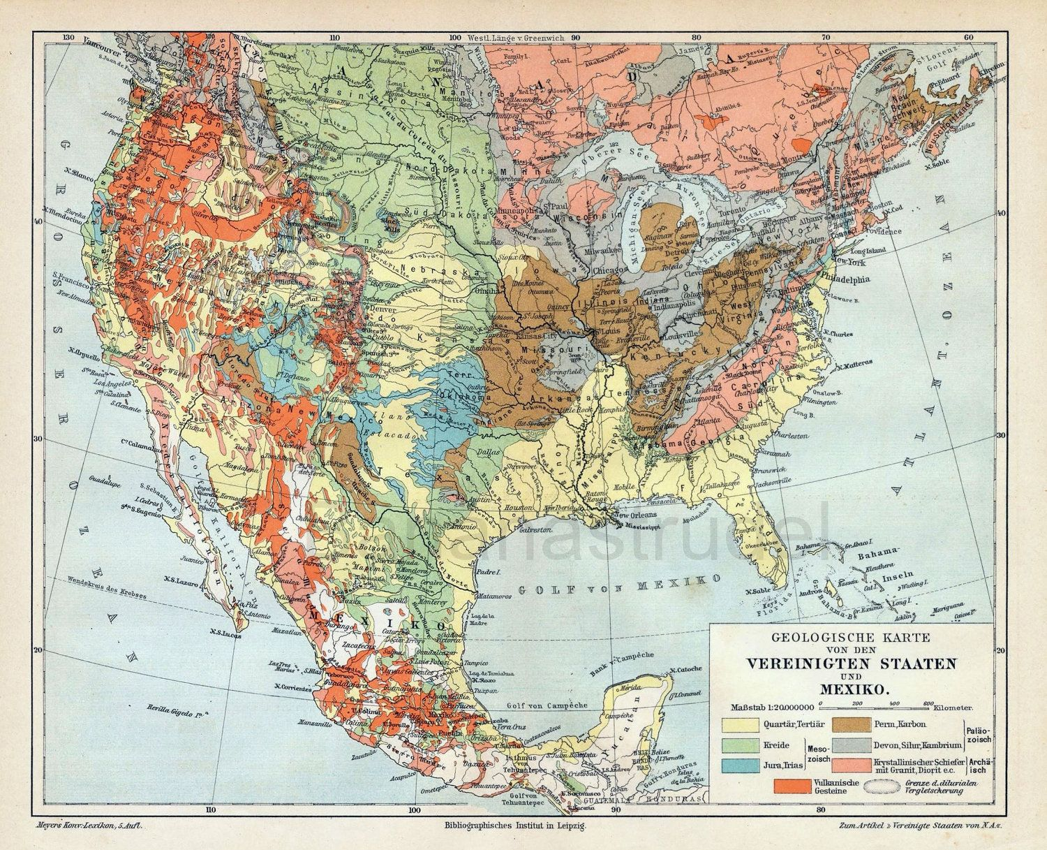 1895 antique geological map of the united states and mexico source
