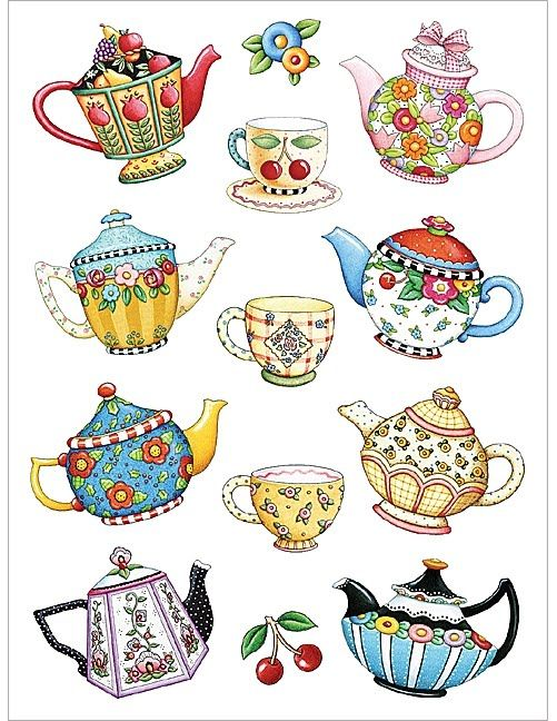 Mary Englebreit ~ Here are a few of her teapot illustrations (She is ...