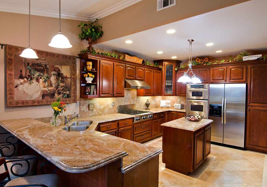 Contemporary granite kitchen countertops with backsplash and cherry cabinets Pictures