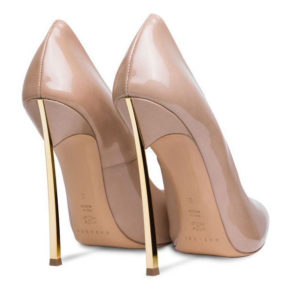 Casadei Blade (12,765 EGP) ❤ liked on Polyvore featuring shoes, pumps, heels, casadei pumps, patent leather pointy toe pumps, golden shoes, patent leather shoes and nude heel pumps