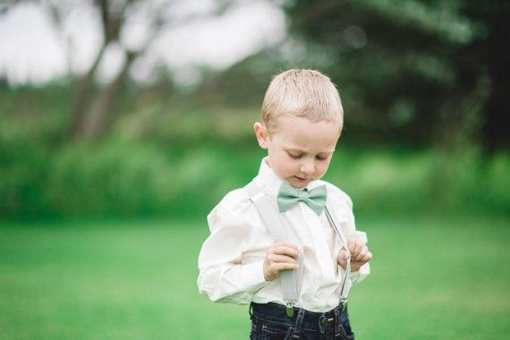 5e2dd8b5a159 Sage Bow Tie and Grey Suspenders Toddler Suspenders Baby | Etsy ...
