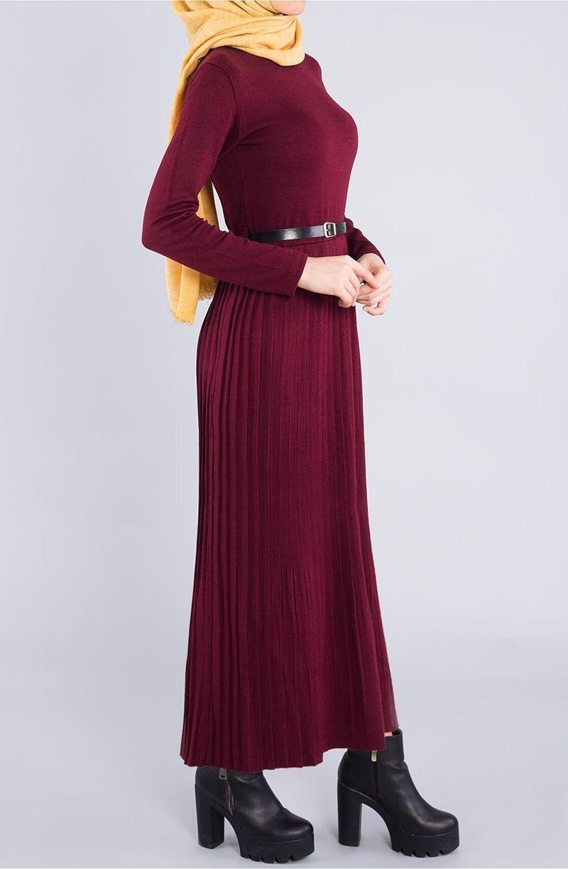 Uzun Piliseli Triko Elbise Bordo Tesettur Tukenenler Suhneva Aksamustu Giysileri Elbise The Dress