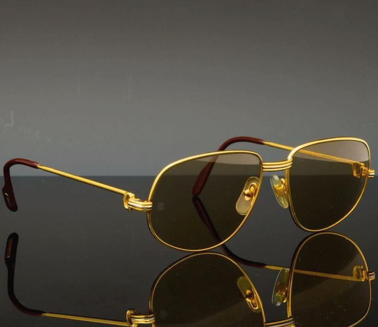 42aac8a356 Cartier Sunglasses ( Cartier Sunglasses (Men s Pre-owned Vintage 18K Gold  Plated Aviator Paris Designer Sun Glasses)