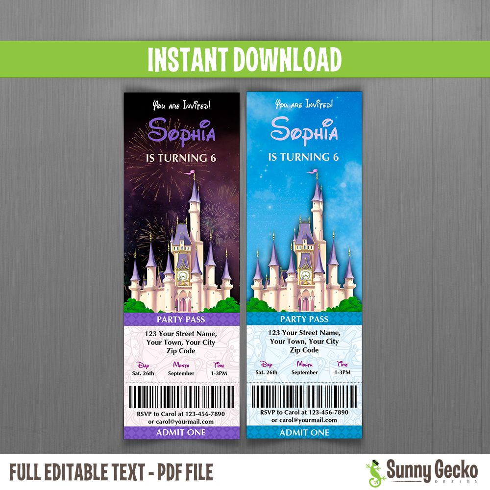 Magic Kingdom Birthday Ticket Invitations No Ears In 2020 Ticket Invitation Birthday Disney Invitations Ticket Invitation Design