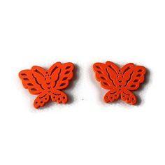 Embellissement papillon orange vif en bois 22x28 mm, scrapbooking x2
