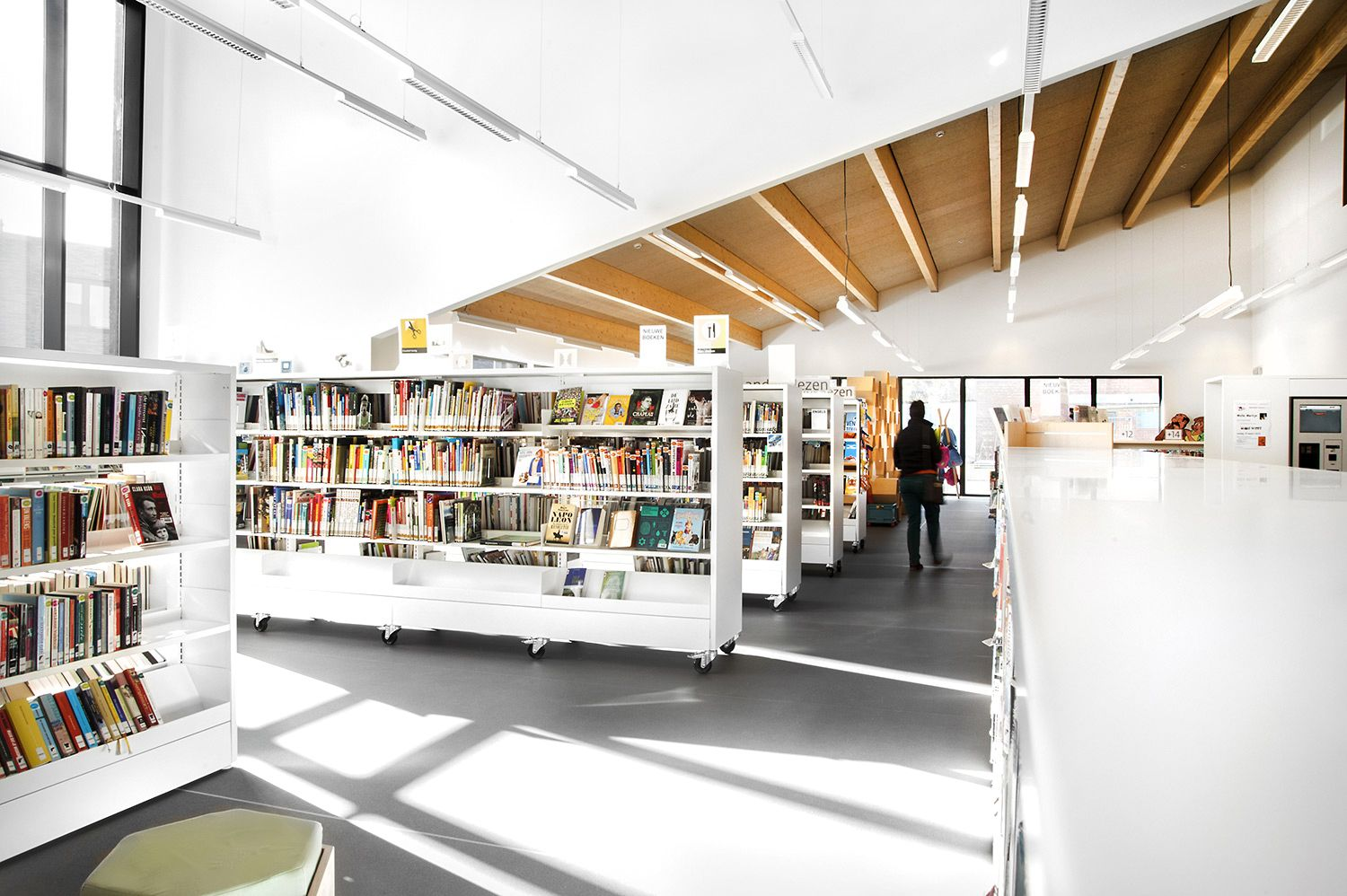 contemporary library furniture. The Combination Of Unique Architecture With Contemporary Library Furniture Has Turned New Zoersel Into Icon Town. A