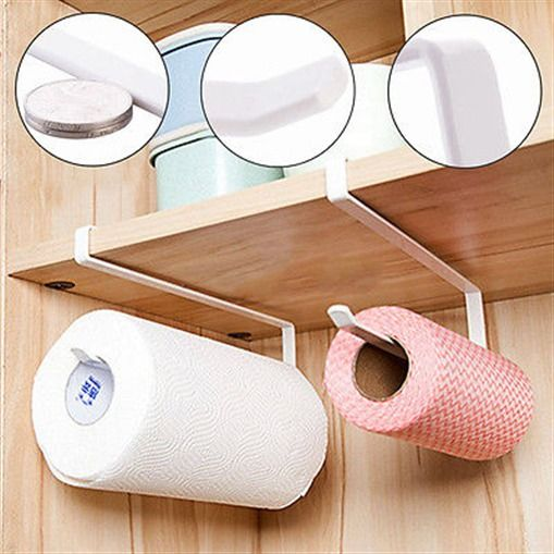 New Arrivials Kitchen Towel Holder Roll Paper Storage Rack Tissue Hanger Under Cabinet Door Home Improvement Bathroom Hardware