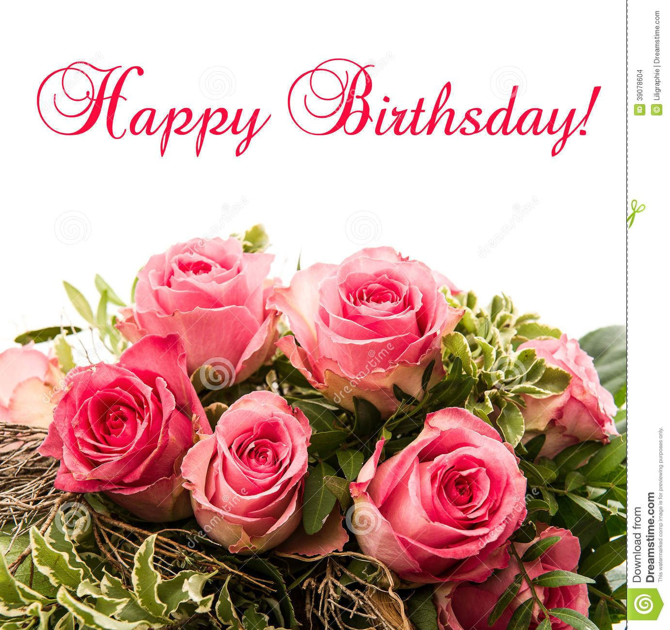 Roses Bouquet Card Happy Birthday Stock Photos