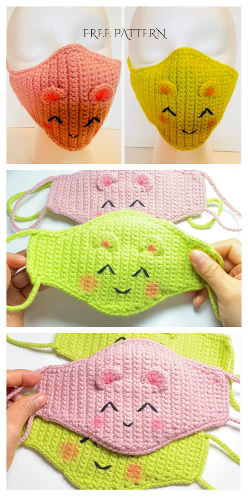Fun Animal Face Mask Free Crochet Patterns & Paid + Video – DIY Magazine – Amigurumi