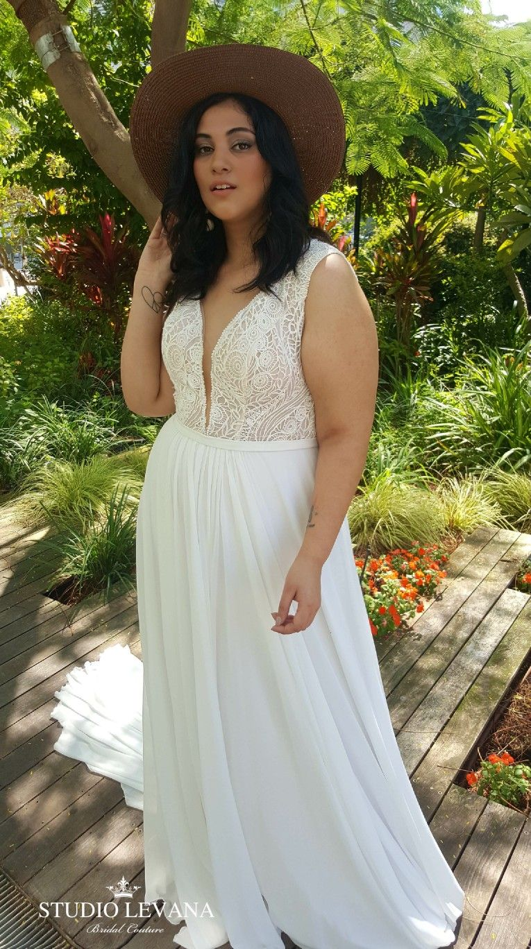 Best wedding dresses for 50 year olds  Boho chic plus size wedding gown for fuller body bride Margo